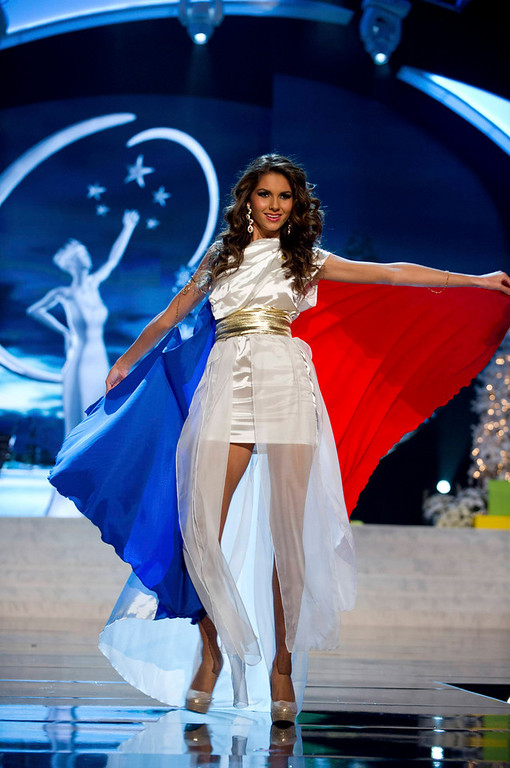 . Miss France Marie Payet performs onstage at the 2012 Miss Universe National Costume Show at PH Live in Las Vegas, Nevada December 14, 2012. The 89 Miss Universe Contestants will compete for the Diamond Nexus Crown on December 19, 2012. REUTERS/Darren Decker/Miss Universe Organization/Handout