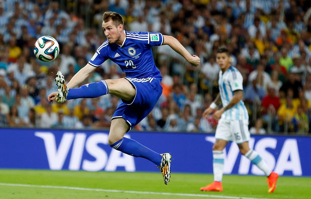 . Bosnia\'s Izet Hajrovic controls the ball during the group F World Cup soccer match between Argentina and Bosnia at the Maracana Stadium in Rio de Janeiro, Brazil, Sunday, June 15, 2014.  (AP Photo/Victor R. Caivano)