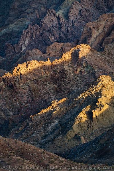 Volcanic cliffs in Cleopatra Wash, Jimbilnan Wilderness, Nevada, January 2015.