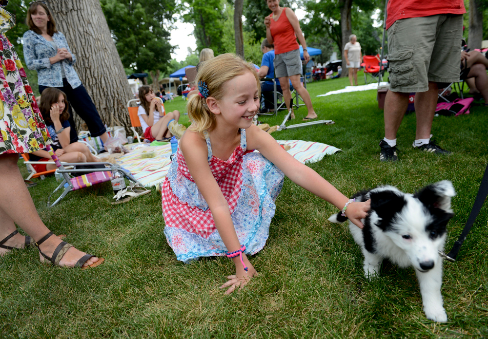 Description of . Greer Ransweiler, 7, pets Lyra during the annual Fourth of July celebration in Thompson Park Friday, July 04, 2014. (Lewis Geyer/Times-Call)