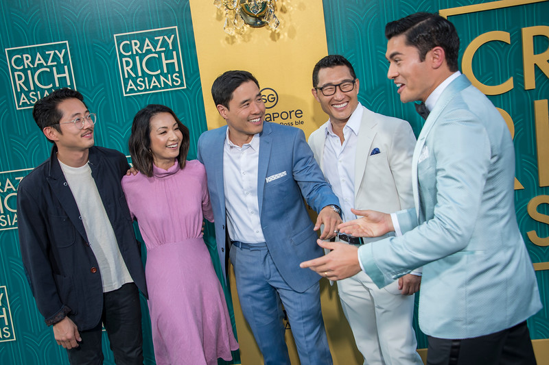HOLLYWOOD, CA - AUGUST 07: Steven Yeun, Jae Suh Park, Randall Park, Daniel Dae Kim and Henry Golding arrive at Warner Bros. Pictures' 'Crazy Rich Asians' Premiere at TCL Chinese Theatre IMAX on Tuesday, August 7, 2018 in Hollywood, California. (Photo by Tom Sorensen/Moovieboy Pictures)