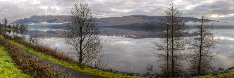 'Lomond in the Morning' - panorama 12 February 2012 - featuring a snow topped Ben Lomond. Near Luss, Loch Lomond, Scotland