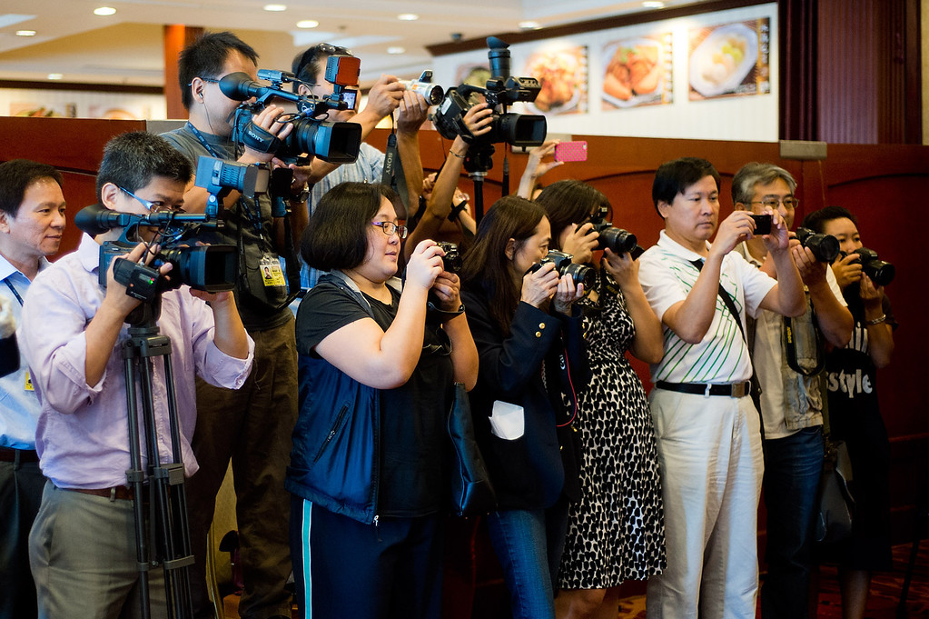 . Members of the media during Phillip Chen\'s announcement for his run in the 55th State Assembly District at Seafood Village Restaurant in Rowland Heights on Thursday, July 8, 2013. The Walnut Valley school board member is running in the 55th Assembly district currently represented by Assemblyman Curt Hagman, who is not running for reelection due to term limits. (SGVN/Staff photo by Watchara Phomicinda)