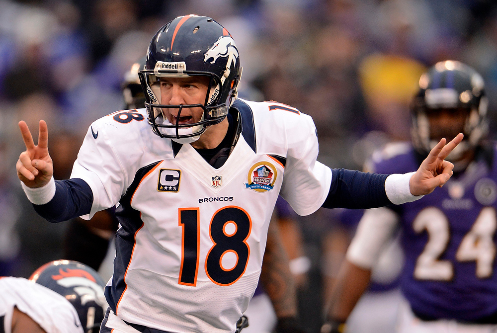 Description of . Denver Broncos quarterback Peyton Manning (18) calls out the play at the line of scrimmage during the fourth quarter against the Baltimore Ravens Sunday, December 16, 2012 at M&T Bank Stadium. John Leyba, The Denver Post