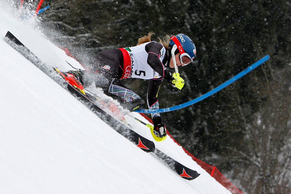 Description of . Mikaela Shiffrin of the USA competes during the Audi FIS Alpine Ski World Championships Women's Slalom on February 16, 2013 in Schladming, Austria. (Photo by Alexis Boichard/Agence Zoom/Getty Images)