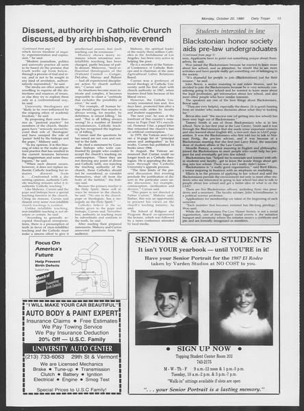 Daily Trojan, Vol. 102, No. 35, October 20, 1986