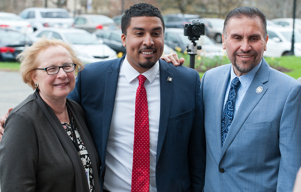 04/30/18 Wesley Bunnell | Staff New Britain Alderman Emmanuel Sanchez announced Monday afternoon on the steps of the State Capitol Building his entry into the race for the Connecticut's 5th Congressional House seat which currently is held by Democrat Elizabeth Esty. State Senator Terry Gerrantana, Emmanuel Sanchez and State Rep. Bobby Sanchez.