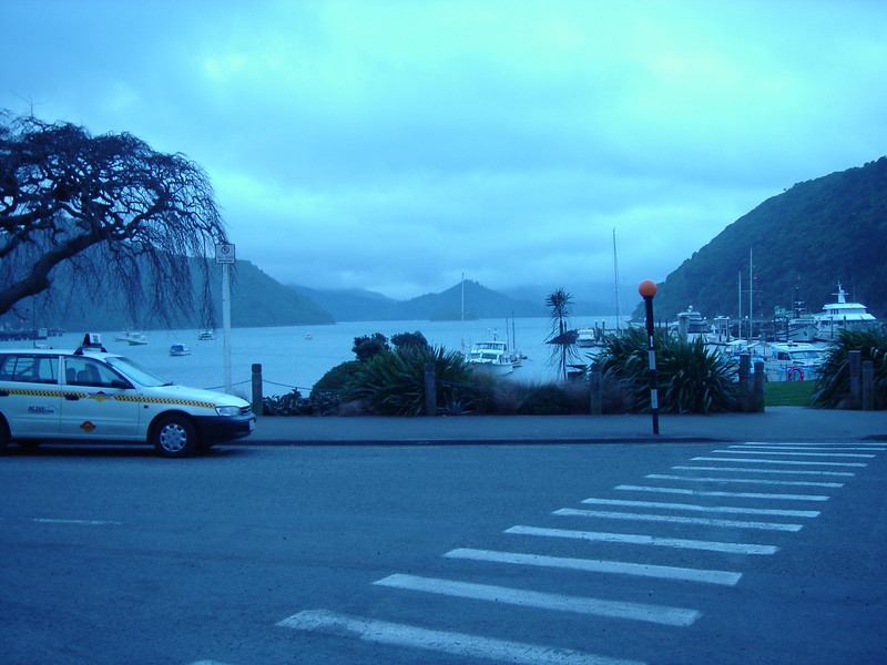 a very blue day in the port town of Picton