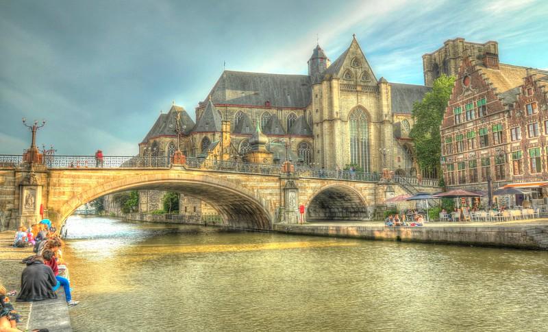 St Michael's Bridge alongside the church - Ghent, Belgium