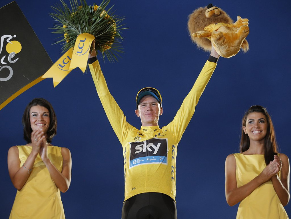 ". <p><b><a href=\'http://www.bbc.co.uk/sport/0/cycling/23399875\' target=""_blank\""> Chris Froome won the 100th Tour de France over the weekend, becoming the second consecutive winner of the cycling race who is ... </a></b> <p> <b>A. British </b> <p><b> B. Australian </b> <p> <b>C. Using undetectable masking agents </b> <p> --------------------------------------------  (AP Photo/Christophe Ena)"