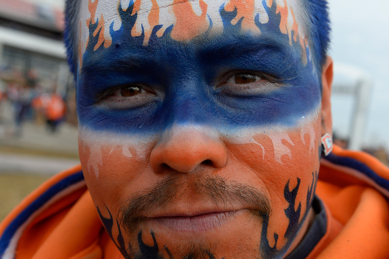 """. Gabe Vigil, the \""""Broncos Warrior\"""", tailgates before the game. The Denver Broncos played the Indianapolis Colts in an AFC divisional playoff game at Sports Authority Field at Mile High in Denver on January 11, 2015. (Photo by Craig F. Walker/The Denver Post)"""
