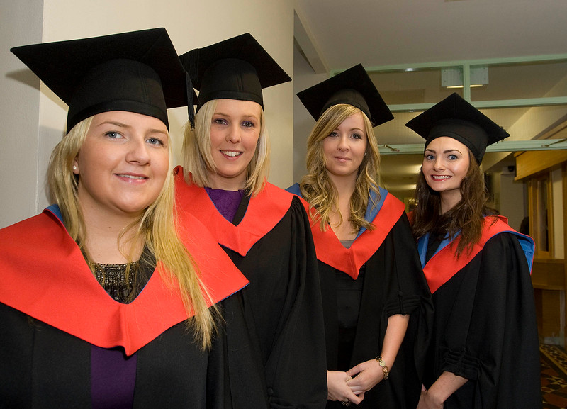"""4/1/2012. News. Waterford Institute of Technology (WIT), conferring ceremony. From Left, Emer Kearney, Lisa Frisby, Robyn Foley from Waterford, and Brid Fortune, Enniscorthy, Co Wexford all who graduated in Higher Certificate in Business. Photo Patrick Browne  Upbeat mood at WIT's conferring ceremonies  An optimistic note has been signaled by Mr Tony McFeely, Acting President of Waterford Institute of Technology (WIT), at the first of 11 conferring ceremonies across three days during which 2,652 students were conferred with academic degrees up to doctorate level.  In his conferring address, Mr McFeely said: """"We cannot ignore the dark economic clouds that have surrounded the country for the past few years. Job opportunities are not as readily available as they once were. However, your academic achievements should instill a sense of self-confidence. I would encourage you to remain positive and optimistic despite the general gloom. These times will pass; they always do.""""  """"We Irish are a resilient people; you are the potential leaders of the future so it's incumbent on you to remain strong and positive,"""" continued Mr McFeely. He urged today's graduates to remember the words of Apple founder Steve Jobs at a Stanford graduation in 2005: """"Your time is limited, so don't waste it living someone else's life. Don't be trapped by dogma, which is living with the results of other people's thinking. Don't let the noise of others' opinions drown out your own inner voice. And most important, have the courage to follow your heart and intuition.""""  WIT's Chairman, Dr Donie Ormonde, continued the positive theme in his remarks: """"In the modern economy skills and competencies are the tradable commodities that enhance your life experiences and enhance the creative edge of economic and social development. Ireland's capacity to bounce back is directly related to the education and skills infrastructure that it has built. Ireland is an international leader in educational attainment and it is t"""