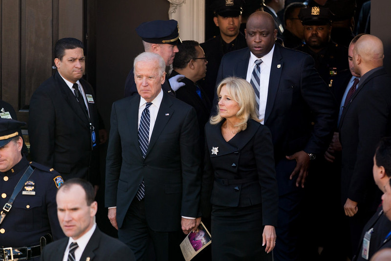. U.S. Vice President Joe Biden and his wife Jill left the church following the funeral of slain NYPD officer Rafael Ramos at the Christ Tabernacle Church on December 27, 2014 in the Glenwood section of the Queens borough of New York City. Thousands of fellow officers, family, friends and Vice President Joseph Biden are expected at the church in the Glendale neighborhood of Queens for the funeral. (Photo by Kevin Hagen/Getty Images)