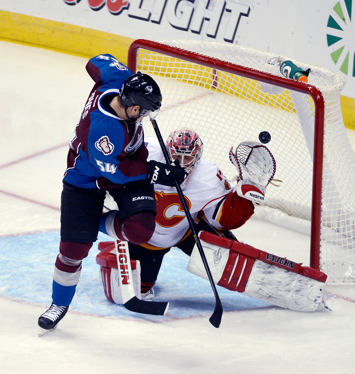 . DENVER, CO. - FEBRUARY 28: David Jones (54) of the Colorado Avalanche tries to deflect a shot past G Joey MacDonald (35) of the Calgary Flames during the second period February 28, 2013 at Pepsi Center.(Photo By John Leyba/The Denver Post)