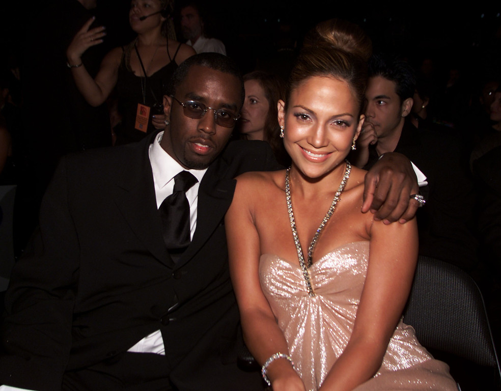 . Sean \'Puffy\' Combs with Jennifer Lopez in the audience at the 1st Annual Latin Grammy Awards broadcast on Wednesday, September 13, 2000 at the Staples Center in Los Angeles, CA.  Photo credit: Kevin Winter/ImageDirect