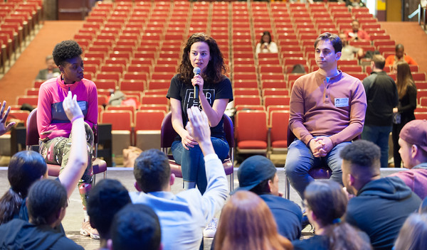 04/23/18 Wesley Bunnell | Staff Broadway star Mandy Gonzalez, center, Broadway dancer Khalia Campbell, L, and composer David Dabbon, R, answer questions from students during a workshop including students from New Britain High School, CCSU and CREC on Monday at New Britain High School. The workshop titled Broadway on Mill Street was a partnership with CCSU, the Ana Grace Project and CSDNB and CREC. Gonzalez is known for portraying Nina Rosario in the musical In the Heights, Elphaba in Wicked and is currently starting in Hamilton.