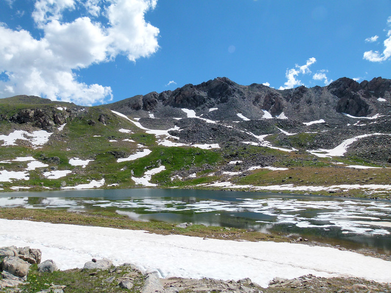 Independence Lake 12,490 feet, still lots of ice at end of July