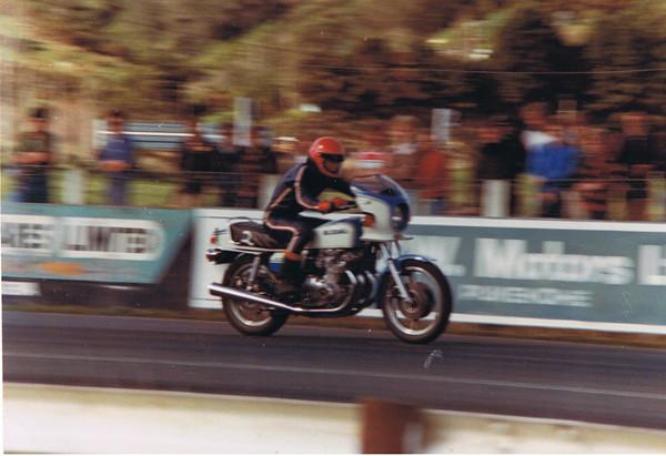 Where it all started, Suzuki GS100S Mid 12's at 110 mph 1980 Winter series at Meri Meri Drag Strip