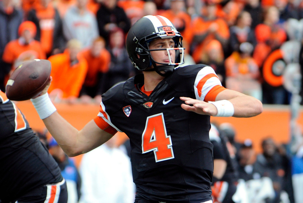 . Oregon State quarterback Sean Mannion throws against Colorado in the first half of an NCAA college football game on Saturday, Sept 28, 2013, in Corvallis, Ore. Oregon State beat Colorado 44-17. (AP Photo/Greg Wahl-Stephens)