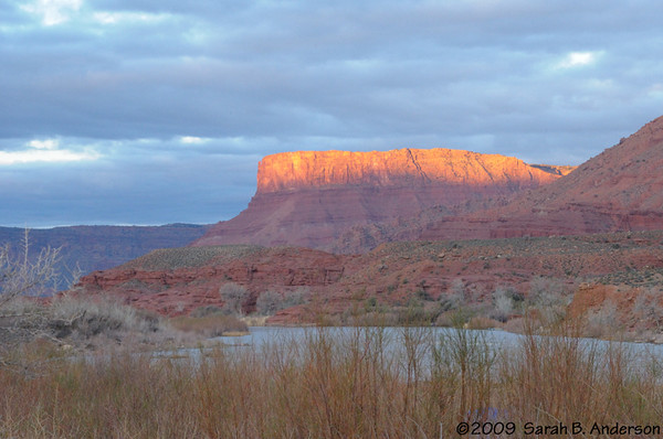 sunrise over the Colorado River  from Lower Onion Creek Campground near Moab, Utah April 2009