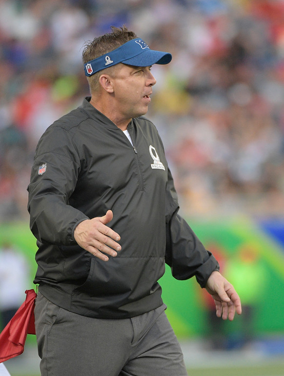 . NFC head coach Sean Payton of the New Orleans Saints, cheers his team, during the first half of the NFL Pro Bowl football game against the AFC, Sunday, Jan. 28, 2018, in Orlando, Fla. (AP Photo/Phelan M Ebenhack)