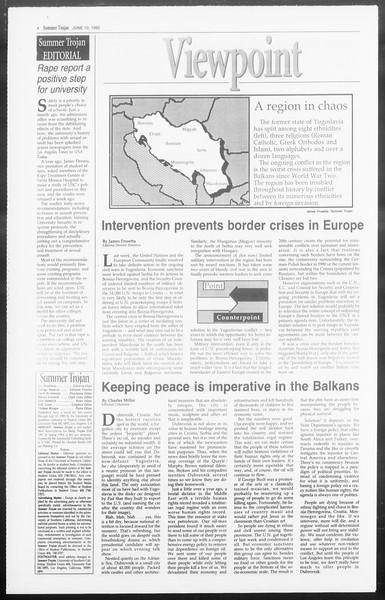 Summer Trojan, Vol. 118, No. 5, June 10, 1992