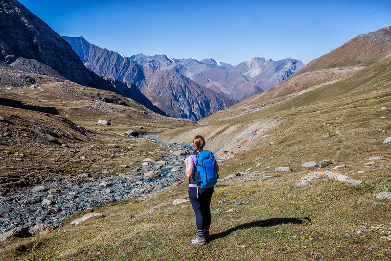 Lina Stock hiking in Kyrgyzstan - Best Travel Backpack