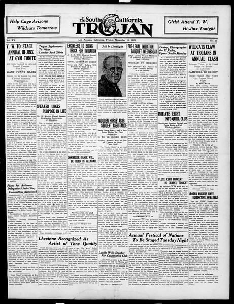 The Southern California Trojan, Vol. 15, No. 23, November 16, 1923