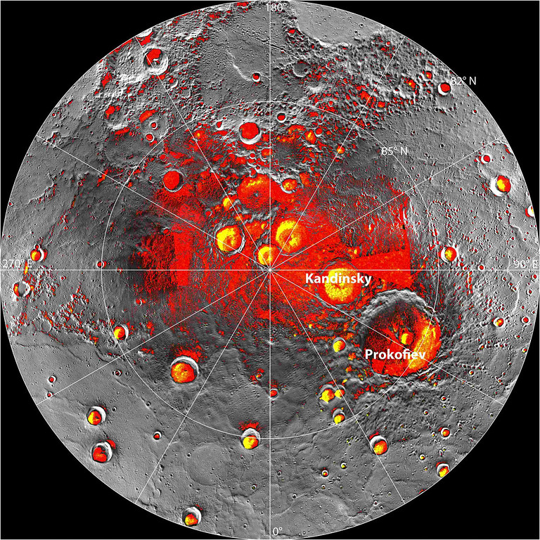 . In an undated handout image, a composite image of Mercury\'s north pole. New findings from the Messenger spacecraft indicate that the Mercury\'s poles are home to large swaths of frozen water. (NASA/Johns Hopkins University Applied Physics Laboratory/Carnegie Institution of Washington via The New York Times)
