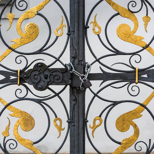 Padlock with metal chain on gate, Strahov Monastery, Prague, Czech Republic
