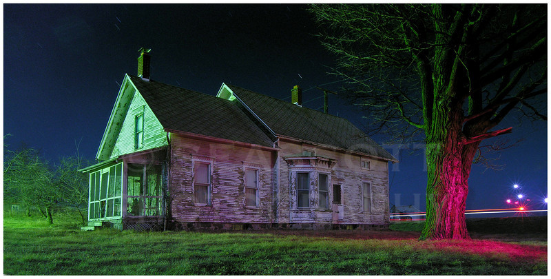 Farmhouse in the moonlight.  Saline, MI.