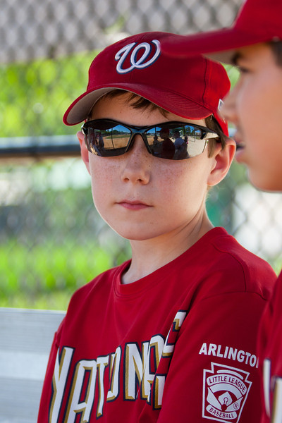 Toby on the bench before the game. The Nationals struggled on both offense and defense in a 2-11 loss to the Orioles. They are now 7-4 for the season. 2012 Arlington Little League Baseball, Majors Division. Nationals vs Orioles (19 May 2012) (Image taken by Patrick R. Kane on 19 May 2012 with Canon EOS-1D Mark III at ISO 400, f4.0, 1/640 sec and 115mm)