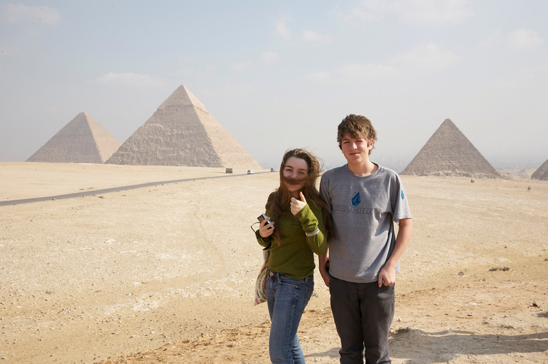 Abby and Henry from the hill overlooking all three pyramids. This is probably the top photo spot in Egypt. And there were vendors everywhere to prove it.
