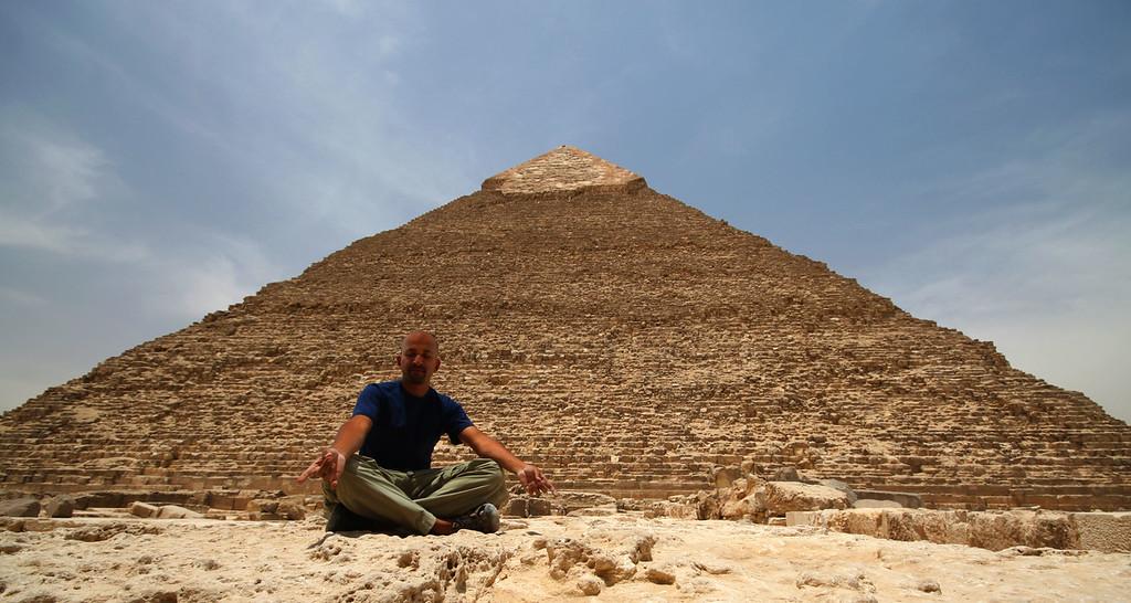 Meditating at the Pyramids of Giza, Egypt
