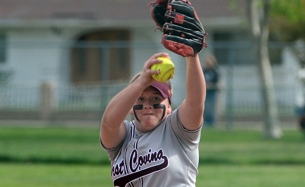 . West Covina starting pitcher Maddy Tickey throws to the plate against Bonita in the first inning of a prep softball game at Los Flores Park in La Verne, Calif., on Thursday, March 27, 2014. Bonita won 6-3. (Keith Birmingham Pasadena Star-News)