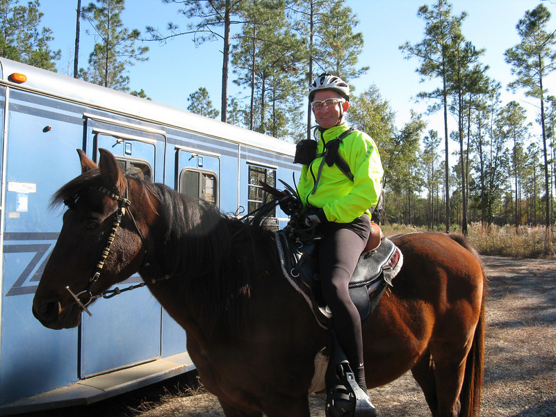 """What could go wrong? Full MTB regalia including cleated shoes. Wonder how long it'll take Wrecking Ball to find this photo. Last time I was atop a horse, it was some midget pony circa 1960 at Thomasville Road's """"Whittle's Pony Farm."""""""