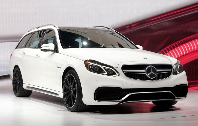 . The 2014 E63 AMG S-model Mercedes Benz wagon is presented at the New York International Auto Show, in New York\'s Javits Center,  Wednesday, March 27, 2013. (AP Photo/Richard Drew)