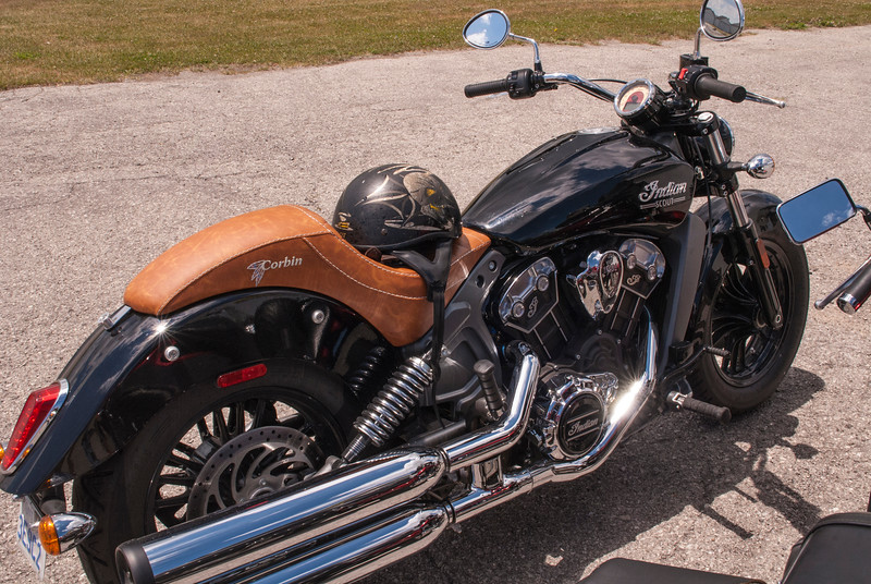 A beautiful Indian Scout motorcycle visits CHAA as part of the Optimists Canada Day ride.