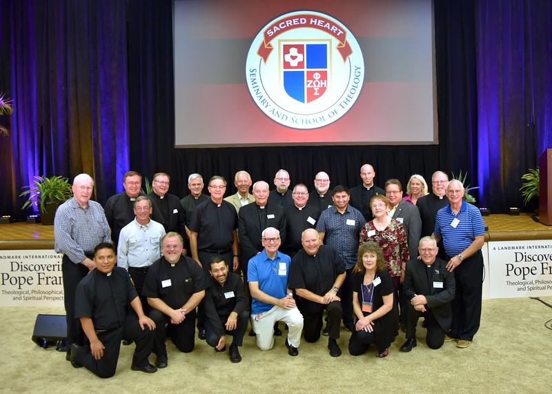 SHSST alumni with Fr. Tom Knoebel. Among them are a number of familiar Dehonian faces inlcuding Fr. John Czyzynski, Fr. Mark Fortner, Fr. Jim Schroeder, Fr. Jack Kurps and Fr. Dominic Peluse.
