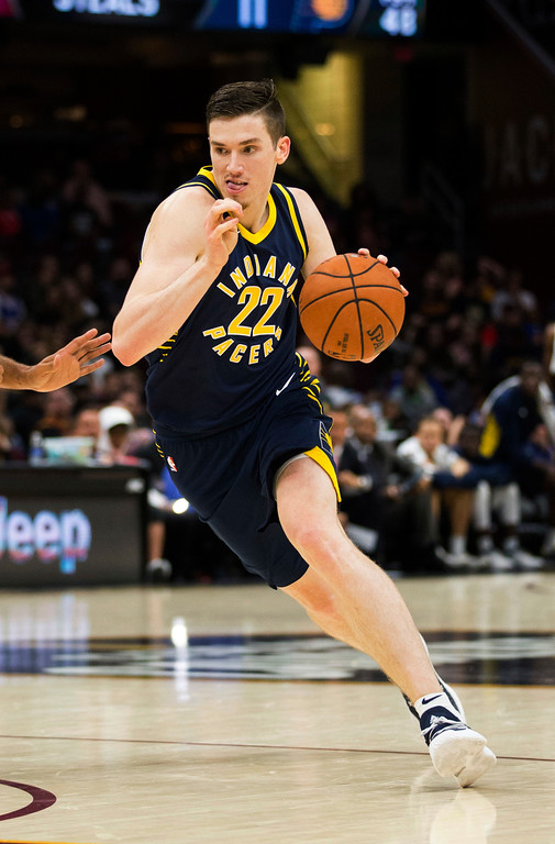 . Indiana Pacers\' T.J. Leaf (22) dribbles to the basket against the Cleveland Cavaliers during the fourth quarter of an NBA preseason basketball game, Friday, Oct. 6, 2017, in Cleveland. The Pacers won 106-102. (AP Photo/Scott R. Galvin)