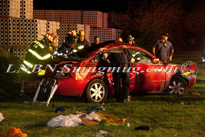 Brentwood F.D. Overturned Auto w/ double entrapment & pole down Corbin Ave b/t S 2nd St & S 3rd St. 8-16-13