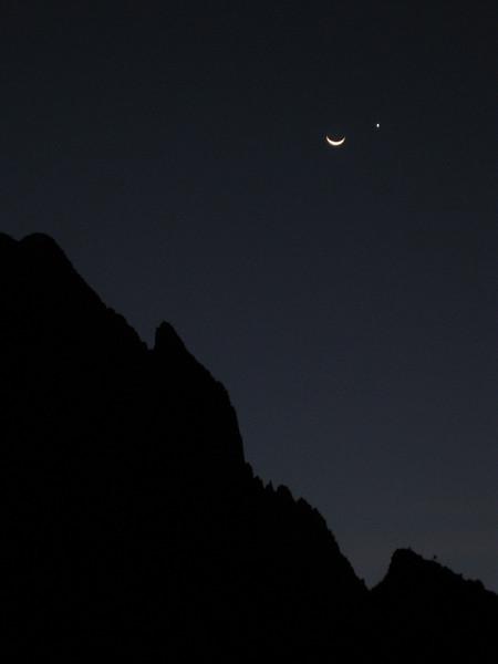 The Moon and Venus over protrero chico