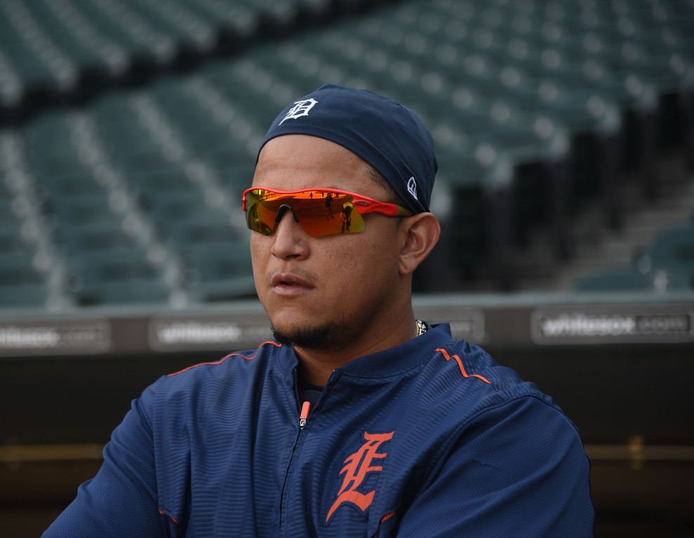 . Detroit Tigers first baseman Miguel Cabrera (24) watches batting practice before a baseball game against the Chicago White Sox, Saturday, June 6, 2015 in Chicago.  (AP Photo/David Banks)
