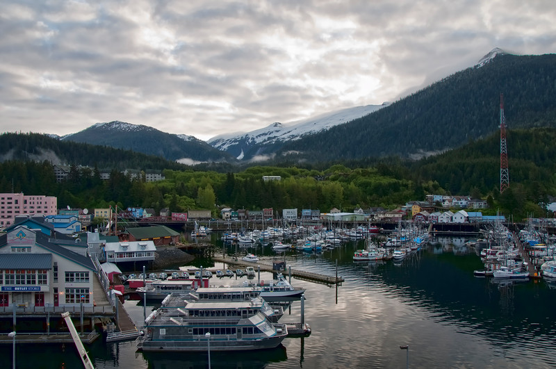 The harbor at Ketchikan, Alaska with beautiful mountains in the background.