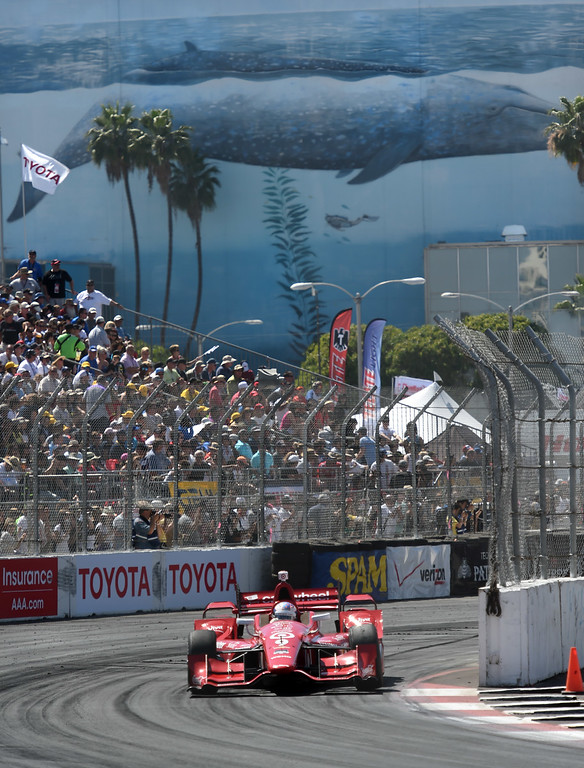 . Toyota Grand Prix of Long Beach winner Scott Dixon leads during the 41st Annual Toyota Grand Prix of Long Beach.  Long Beach  Calif., Sunday,  April,19, 2015.     (Photo by Stephen Carr / Daily Breeze)