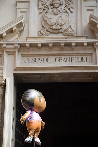 Balloon with the shape of a cartoon character in front of Gran Poder basilica, Seville, Spain