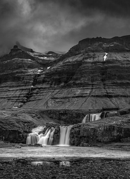 Kirkjufellsoss Waterfall  Black and White Photography by Wayne Heim