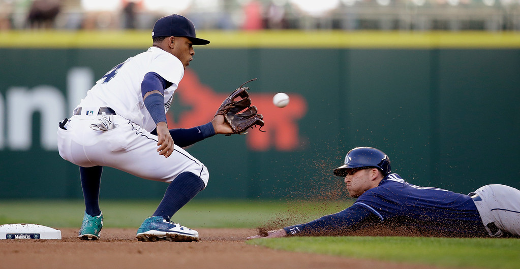 . Tampa Bay Rays\' Brad Miller, right, slides safely into second base as Seattle Mariners shortstop Ketel Marte waits for the throw on a stolen base in the first inning of a baseball game Monday, May 9, 2016, in Seattle. (AP Photo/Elaine Thompson)