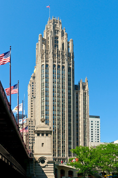 The Tribune Tower.  1922.  Unusual style for its time.  Very anti-Chicago-School.  Very non-Modern.  One of my favorites.