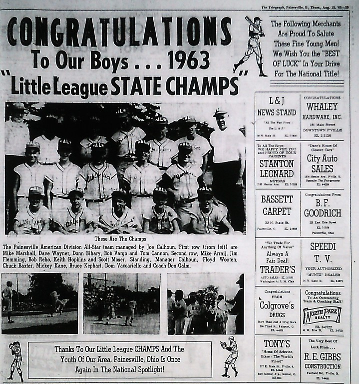 . The 1963 Painesville American League All-Star team is congratulated in the Painesville Telegraph for winning the Little League state title. (News-Herald file)